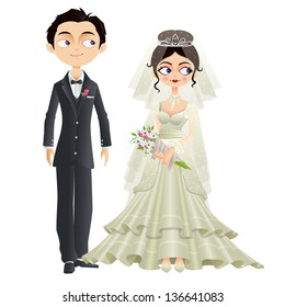 easy to edit vector illustration of Christian wedding couple