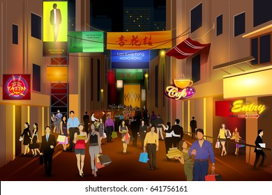 easy to edit vector illustration of city nightlife of busy street Lan Kwai Fong Hong Kong