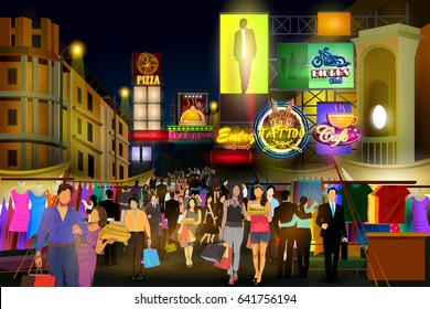 easy to edit vector illustration of city nightlife of busy street