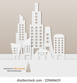 easy to edit vector illustration of cityscape made of paper