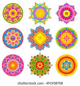 easy to edit vector illustration of collection of colorful rangoli pattern for India festival decoration