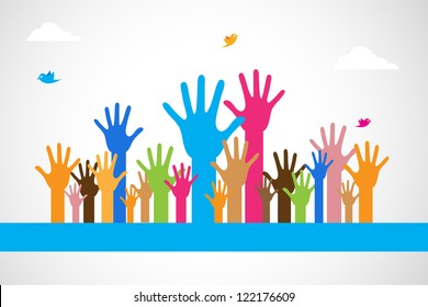 easy to edit vector illustration of colorful raised hand