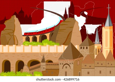 easy to edit vector illustration of colorful collage of Switzerland