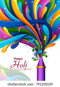 easy to edit vector illustration of Colorful splash from pichkari on Holi background