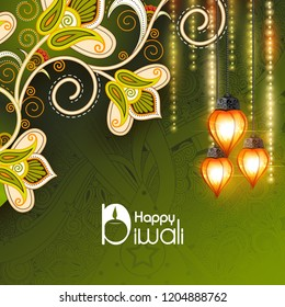 easy to edit vector illustration of decorated kandil for Happy Diwali background