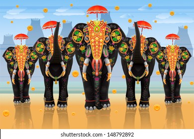 easy to edit vector illustration of decorated elephant of South India