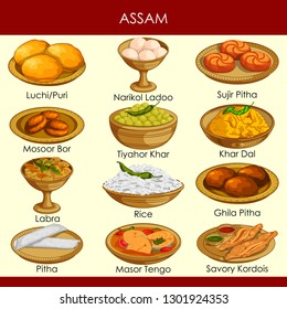 easy to edit vector illustration of delicious traditional food of Assam India