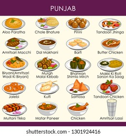 easy to edit vector illustration of delicious traditional food of Punjab India