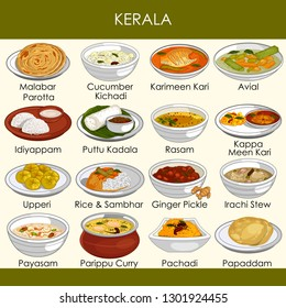 easy to edit vector illustration of delicious traditional food of Kerala India