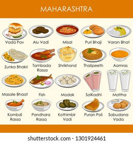 easy to edit vector illustration of delicious traditional food of Maharashtra India