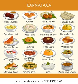 easy to edit vector illustration of delicious traditional food of Karnataka India