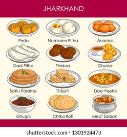 easy to edit vector illustration of delicious traditional food of Jharkhand India