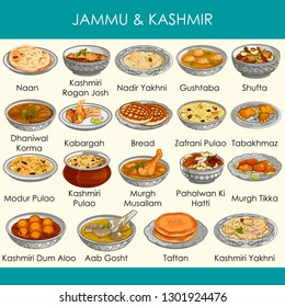 easy to edit vector illustration of delicious traditional food of Jammu and Kashmir India