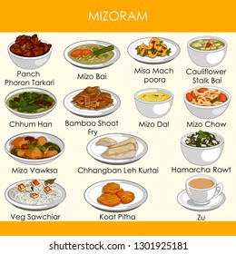 easy to edit vector illustration of delicious traditional food of Mizoram India