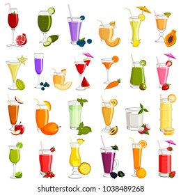 easy to edit vector illustration of different variety of Fresh Fruit Juice beverage Drink glass
