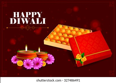 easy to edit vector illustration of diya with sweet for Happy Diwali background