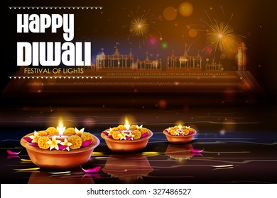 easy to edit vector illustration of diya with flower for Happy Diwali background