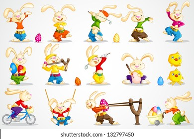 easy to edit vector illustration of Easter bunny in different pose