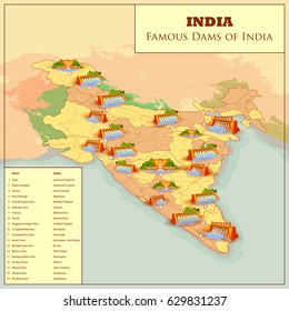 easy to edit vector illustration of Famous Dams of India