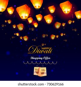 easy to edit vector illustration of floating lamp in Diwali holiday night shopping sale offer