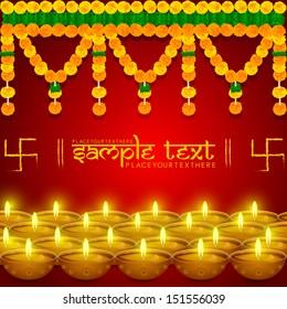 easy to edit vector illustration of flower toran with diya in festival