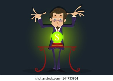 easy to edit vector illustration of fortune teller businessman with dollar crystal ball