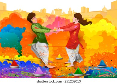 easy to edit vector illustration of friends enjoying Holi