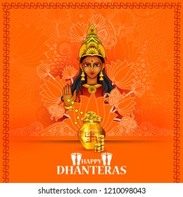 easy to edit vector illustration of Goddess Lakshmi for Happy Dhanteras Diwali in Indian art style background