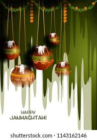 easy to edit vector illustration of Happy Krishna Janmashtami Dahi Handi meaning cream and pot Indian festival celebration background