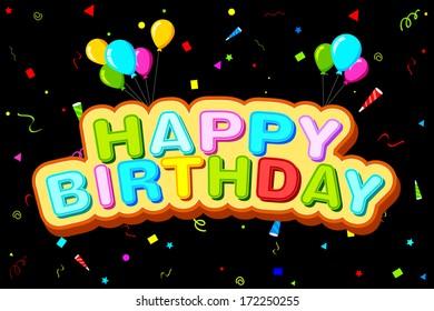 easy to edit vector illustration of Happy Birthday background