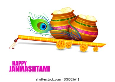 easy to edit vector illustration of Happy Krishna Janmashtami