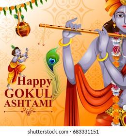 easy to edit vector illustration of Happy Krishna Janmashtami greeting background