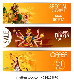 easy to edit vector illustration of Happy Durga Puja India festival holiday Sale Offer advertisement background