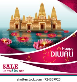easy to edit vector illustration of Happy Diwali shopping sale offer