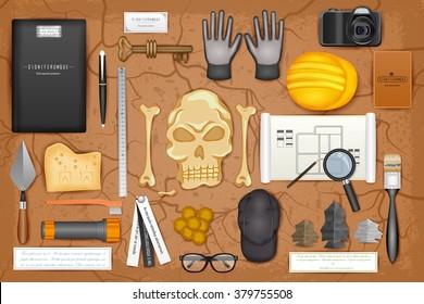 easy to edit vector illustration of identity branding mockup for archaeology