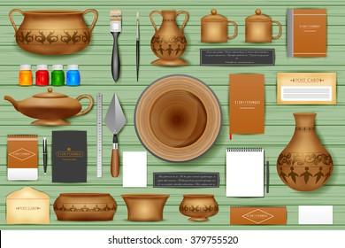 easy to edit vector illustration of identity branding mockup for pottery