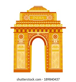 easy to edit vector illustration of India Gate in floral design