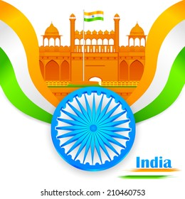 easy to edit vector illustration of India background with Red Fort