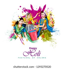 easy to edit vector illustration of Indian people playing colorful Happy Hoil background for festival of colors in India