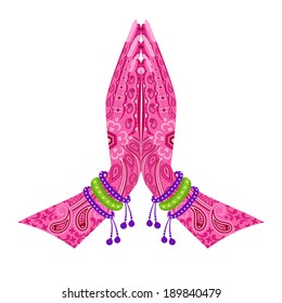 easy to edit vector illustration of Indian Hand in greeting posture of namaste in floral design