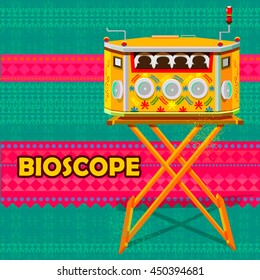easy to edit vector illustration of Indian vintage Bioscope representing colorful India