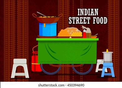 easy to edit vector illustration of Indian street food cart representing colorful India