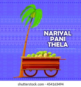 easy to edit vector illustration of Indian Nariyal Pani (Tender Coconut Water) cart representing street food of India