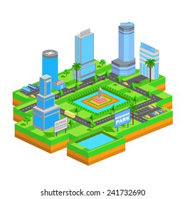 easy to edit vector illustration of isometric business building