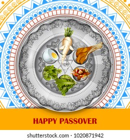 easy to edit vector illustration of Jewish holiday of Passover Pesach Seder