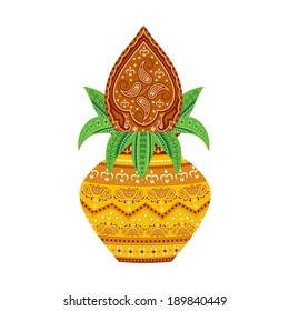 easy to edit vector illustration of kalash  in floral design