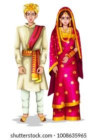 easy to edit vector illustration of Karnatakan wedding couple in traditional costume of Karnataka, India