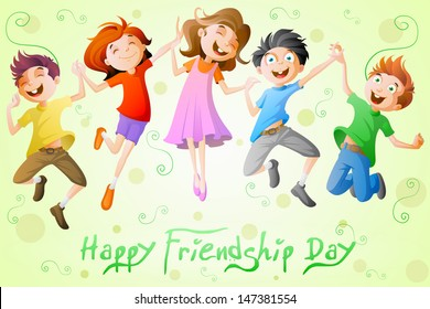 easy to edit vector illustration of kids celebrating Friendship Day