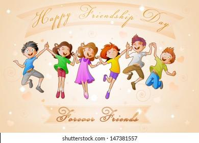 easy to edit vector illustration of kids celebrating Friendship Day