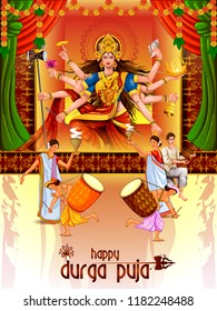 easy to edit vector illustration of ladies dancing with dhunuchi for Happy Durga Puja India festival holiday background